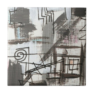 Downtown-Hand Painted Abstract Brushstrokes Tile