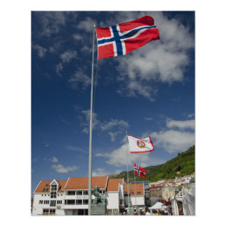 Downtown historic port area of Bergen wth flags Poster