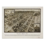 Downtown Houston Texas 1912 Antique Panoramic Map Poster