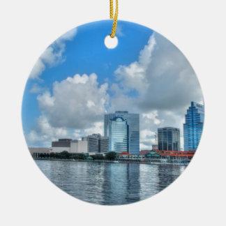 Downtown Jacksonville business district Round Ceramic Decoration