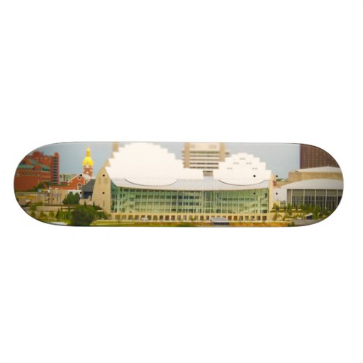 Downtown Kansas City Tilt-Shift Miniature Photo Skateboard