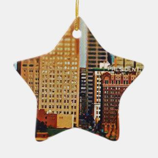 Downtown Kansas City Tilt-Shift, Paint Effect Ceramic Ornament