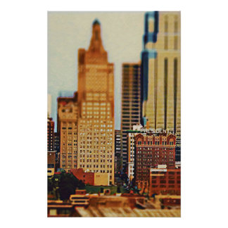 Downtown Kansas City Tilt-Shift, Paint Effect Poster