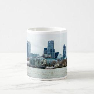 Downtown London, Blue Modern Architecture Basic White Mug