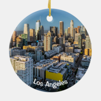 Downtown Los Angeles City View Ceramic Ornament