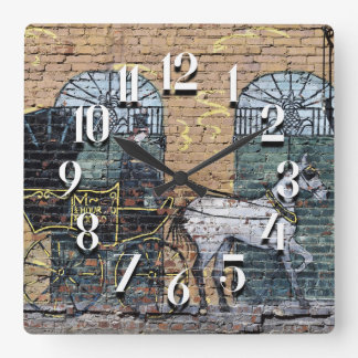 Downtown Nashville Tennessee Horse and Carriage Square Wall Clock