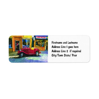 Downtown Oldie! Antique Red Classic Car Return Address Label