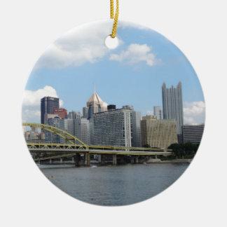 Downtown Pittsburgh Skyline Ceramic Ornament