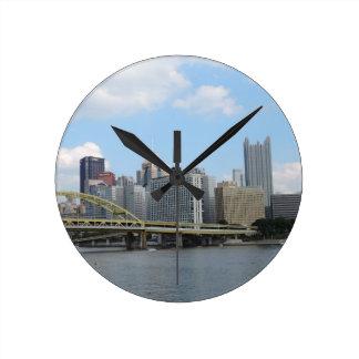 Downtown Pittsburgh Skyline Round Clock