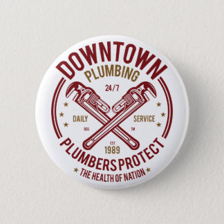 Downtown Plumbing Daily Service 24/7 Plumber 6 Cm Round Badge
