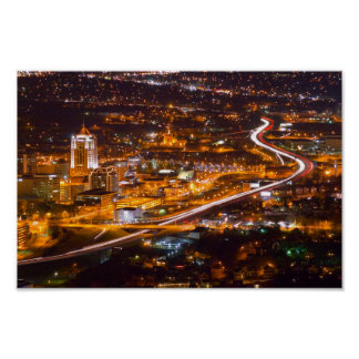 Downtown Roanoke, Virginia at Night. Poster