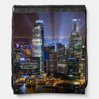Downtown Singapore city at night Drawstring Bag