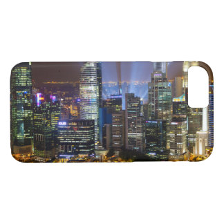 Downtown Singapore city at night iPhone 7 Case