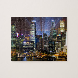 Downtown Singapore city at night Jigsaw Puzzle
