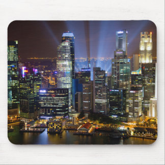 Downtown Singapore city at night Mouse Pad
