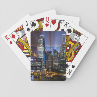 Downtown Singapore city at night Playing Cards