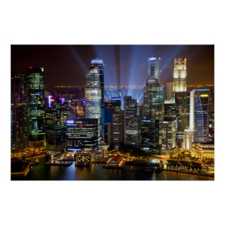 Downtown Singapore city at night Poster