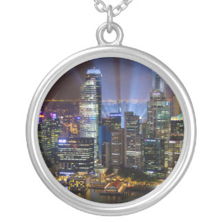 Downtown Singapore city at night Silver Plated Necklace