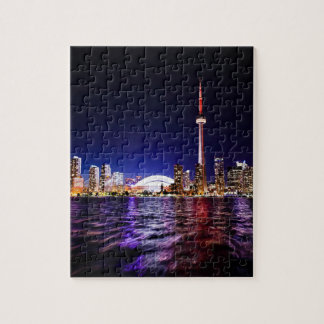 Downtown Toronto Canada cityscape at night Jigsaw Puzzle