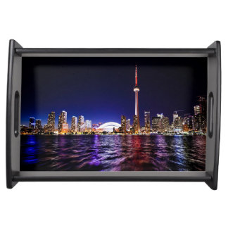 Downtown Toronto Canada cityscape at night Serving Tray