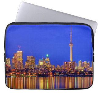 Downtown Toronto skyline at night Laptop Sleeves