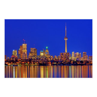 Downtown Toronto skyline at night Poster