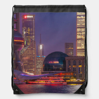 Downtown waterfront shanghai, China Drawstring Bag