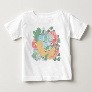 Downward Dog with Flowers Baby T-Shirt