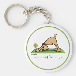 Downward Facing Dog Cartoon Basic Round Button Key Ring