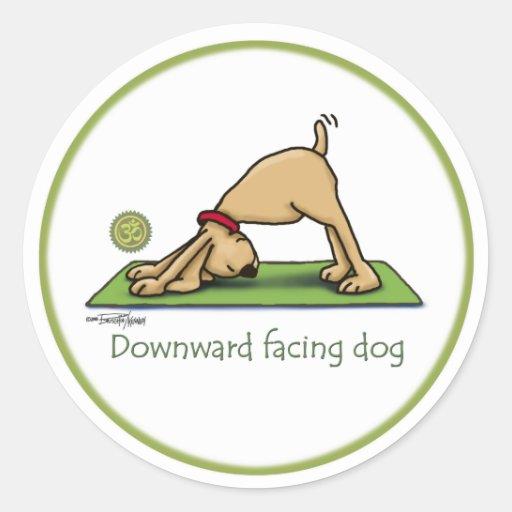 Downward Facing Dog Cartoon Round Sticker