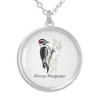 Downy Woodpecker Illustration Silver Plated Necklace