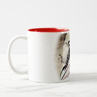 Downy Woodpecker Tea Mug- personalize Two-Tone Coffee Mug