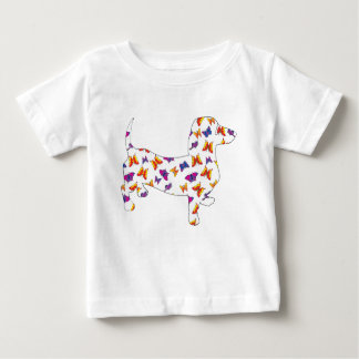 Doxie-Butterfly--White Baby T-Shirt