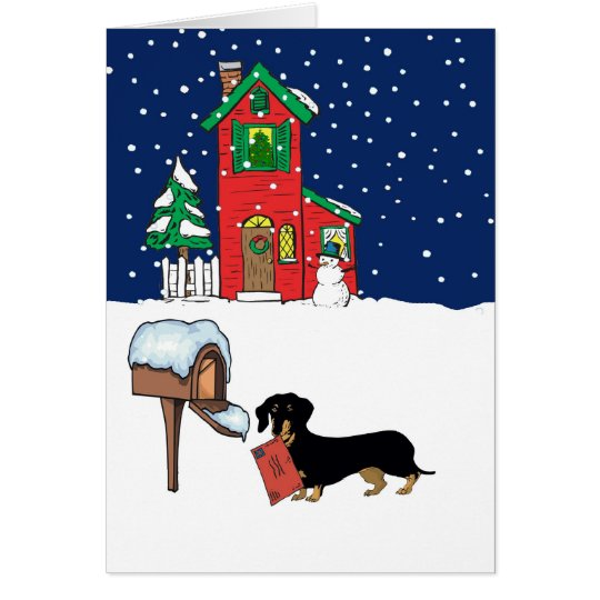 Doxie Christmas Mail Card