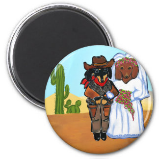 Doxie Cowboy Wedding Magnet