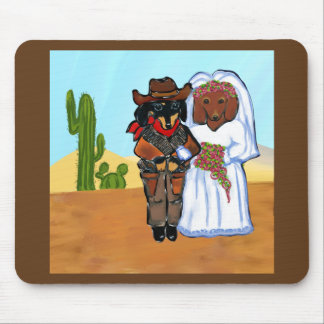 Doxie Cowboy Wedding Mouse Pad