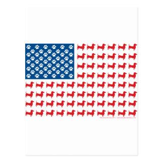 Doxie - Dachshund Patriotic American Flag Postcard