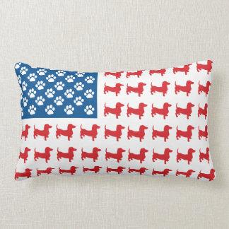 Doxie - Dachshund Patriotic American Flag Throw Cushions