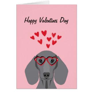 Doxie Dachshund Valentines - Grey Card