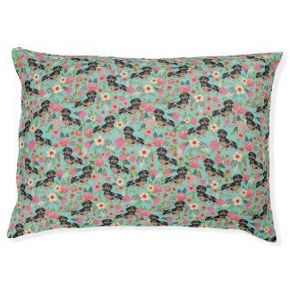 Doxie Dapple Dog Florals - mint Pet Bed