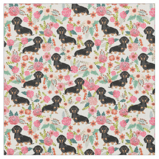 Doxie Floral Fabric - black and tan doxie - cream