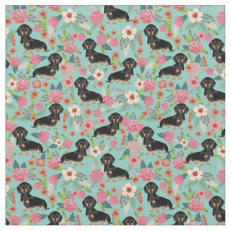 Doxie Floral Fabric - black and tan doxie - mint