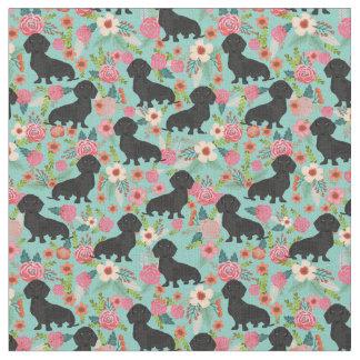 Doxie Floral Fabric - black dachshund - mint