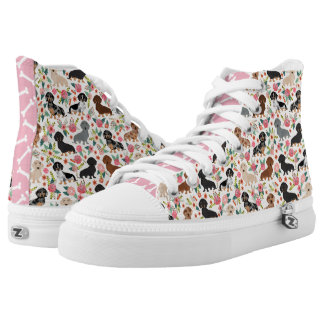 Doxie Floral hitops - dachshund shoes Printed Shoes