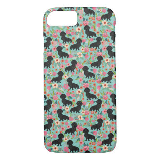 Doxie Floral phone case - black doxie  - mint