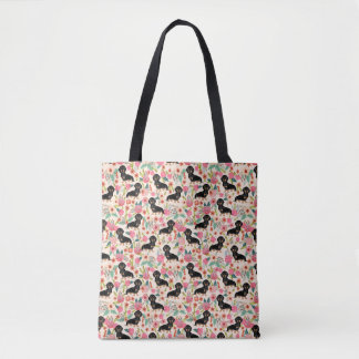 Doxie Floral Tote bag - black and tan doxie- cream