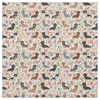 Doxie Florals Fabric - cute dachshund fabric print