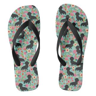 Doxie Florals Flip Flops - black doxie