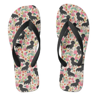 Doxie Florals Flip Flops - black doxie - cream