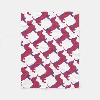 Doxie in Reniassance-Pattern Fleece Blanket